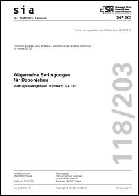 Norm: SIA 118/203:2016. Allgemeine Bedingungen für Deponiebau
