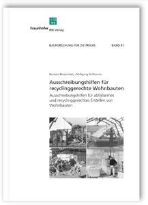 Buch: Ausschreibungshilfen für recyclinggerechte Wohnbauten