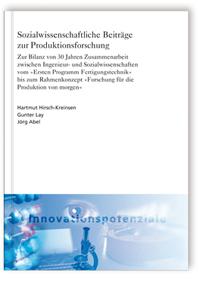 Buch: Sozialwissenschaftliche Beiträge zur Produktionsforschung
