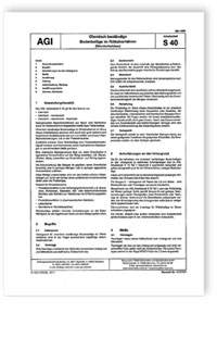 Merkblatt: AGI Arbeitsblatt S 40. Chemisch beständige Bodenbeläge im Rüttelverfahren (Säureschutzbau). Ausgabe Mai 1999