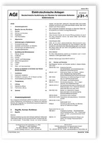 Merkblatt: AGI Arbeitsblatt J 31-1. Elektrotechnische Anlagen. Bautechnische Ausführung von Räumen für stationäre Batterien. Batterieräume. Ausgabe Januar 2014