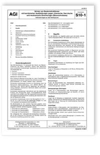 Merkblatt: AGI Arbeitsblatt S 10-1. Schutz von Baukonstruktionen mit kombinierten Auskleidungen gegen chemische, thermische und mechanische Einwirkungen (Säureschutzbau). Anforderungen an den Untergrund. Ausgabe Juli 2015