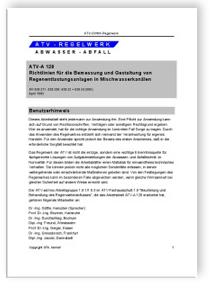 Merkblatt: Arbeitsblatt ATV-A 128, April 1992. Richtlinien für die ...