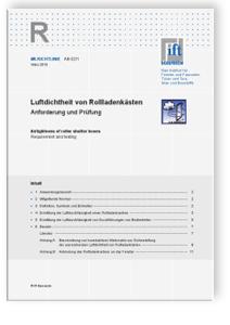 Merkblatt: ift-Richtlinie AB-02/1, März 2010. Luftdichtheit von Rollladenkästen. Anforderung und Prüfung