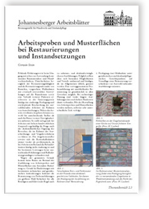 Merkblatt: Arbeitsproben und Musterflächen bei Restaurierungen und Instandsetzungen