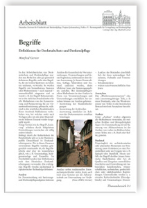 Merkblatt: Begriffe. Definitionen für Denkmalschutz und Denkmalpflege