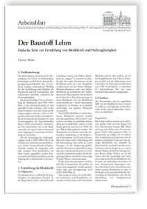 Merkblatt: Der Baustoff Lehm