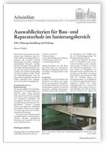 Merkblatt: Auswahlkriterien für Bau- und Reparaturholz im Sanierungsbereich