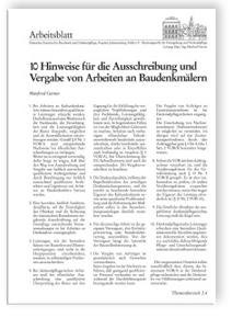 Merkblatt: 10 Hinweise für die Ausschreibung und Vergabe von Arbeiten an Baudenkmälern