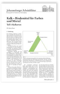 Merkblatt: Kalk - Bindemittel für Farben und Mörtel. Teil 3: Kalkarten
