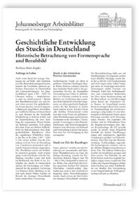 Merkblatt: Geschichtliche Entwicklung des Stucks in Deutschland. Historische Betrachtung von Formensprache und Berufsbild