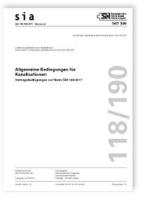 Norm: SIA 118/190:2017. Allgemeine Bedingungen für Kanalisationen