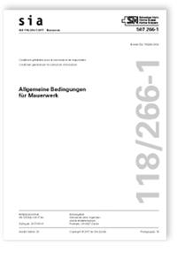 Norm: SIA 118/266-1:2017. Allgemeine Bedingungen für Mauerwerk