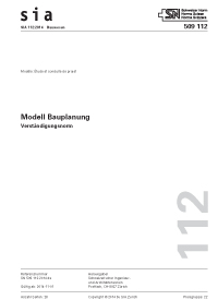 SIA 112:2014. Modell Bauplanung