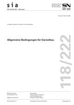 SIA 118/222:2012. Allgemeine Bedingungen für Gerüstbau