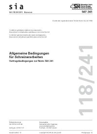 SIA 118/241:2015. Allgemeine Bedingungen für Schreinerarbeiten