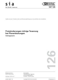 SIA 126:2014. Preisänderung infolge Teuerung bei Planerleistungen
