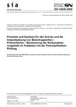 SIA 262.495, 01. 2008. Produkte und Systeme für den Schutz und die Instandsetzung von Betontragwerken - Prüfverfahren - Bestimmung der Karbonatisierungstiefe im Festbeton mit der Phenolphthalein-Prüfung
