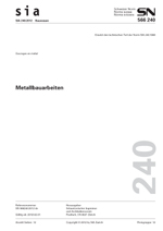 SIA 240:2012. Metallbauarbeiten