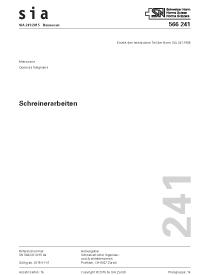 SIA 241; SN 566241, 01. 2015. Schreinerarbeiten