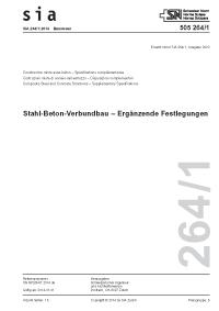 SIA 264/1:2014. Stahl-Beton-Verbundbau - Ergänzende Festlegungen