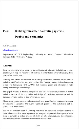 IV 2  Building rainwater harvesting systems  Doubts and certainties