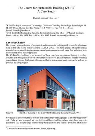 The Centre for Sustainable Building (ZUB) A Case Study