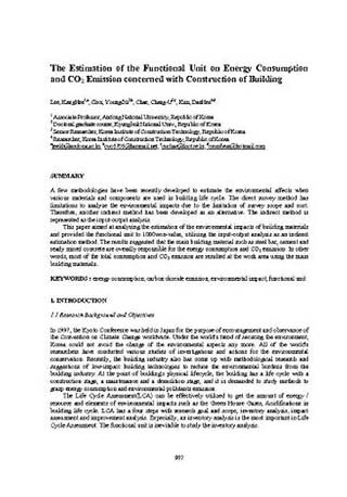 The Estimation of the Functional Unit on Energy Consumption